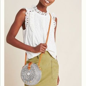 Anthropologie Maeve Tilly Eyelet Blouse White 8